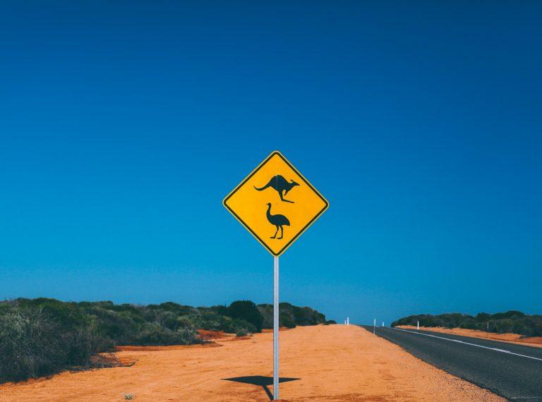 Kangaroo and Emu Australian road sign