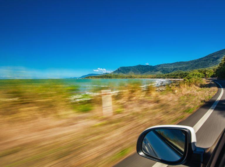 Road trip with motion blur along Ellis Beach near Palm Cove and
