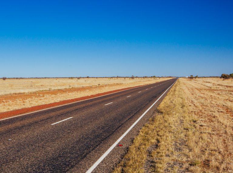 Stuart Highway in Outback Australia