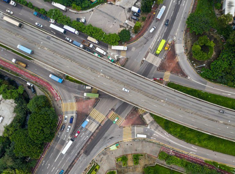 Tin Shui Wai, Hong Kong, 25 August 2018:- Top view of traffic road